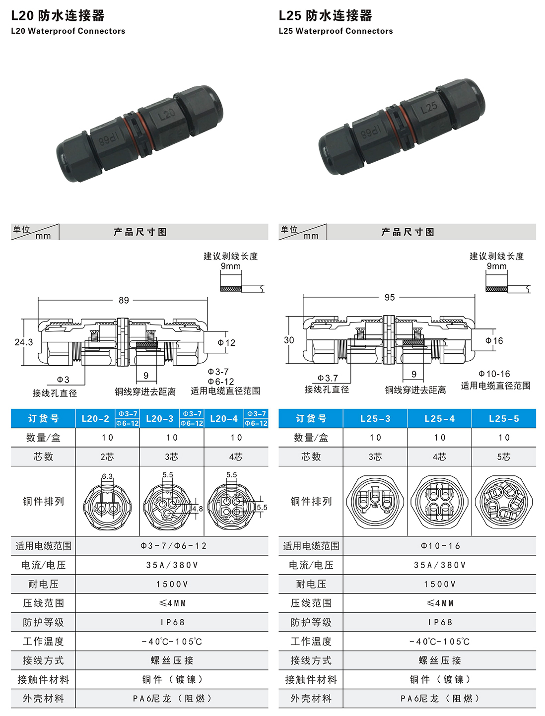 Parameters for L20-L25 2PIN 3PIN Waterproof Connector