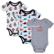 New design printed dinosaur monkey romper baby boy jumpsuit playsuit short sleeve onesie summer baby romper