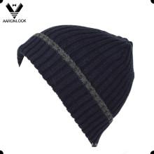 De alta calidad de lana costilla tejida hombres gorrita con el pun ¢ o