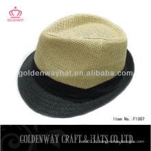 Летняя бежевая тесьма соломенная шляпа Fedora для мужчин