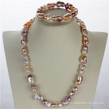 Snh Baroque Shape AAA Quality Cheap Genuine Pearl Jewelry Set
