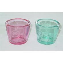 V-Shaped Clear Colorful Glass Votive Holder for Home Decor