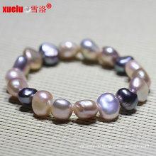 Natur Barock Süßwasser Perle Armband Modeschmuck (E150048)
