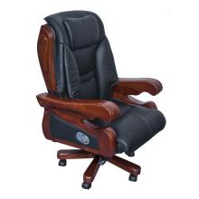 Executive Espresso Eco silla de cuero con brazos y marco de madera (FOH-8889B)