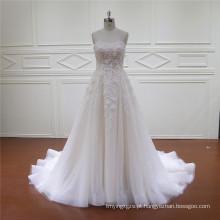 Frisado 3d flores rendas mais novo vestido de noiva