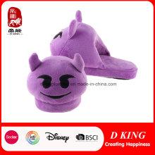 Purple Monster Emoji Zapatilla Caliente zapatilla de felpa