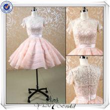 JJ3505 Short Sleeves Beaded Lace Puffy Sexy Short Wedding Dress 2013
