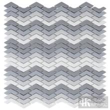 Schattierung grau dekorieren Chevron Fliesen Glasmosaik