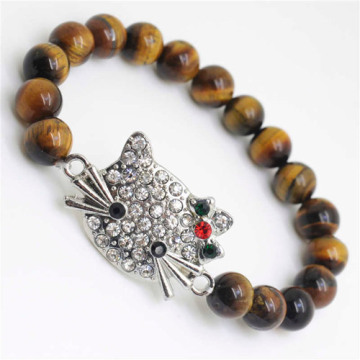 Yellow Tiger eye Gemstone Bracelet with Diamante alloy cat head Piece
