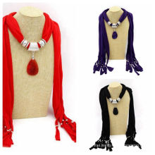 2017 Factory wholesale rhinestone decorated infinity jewelry scarf pendant scarf necklace
