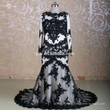 RSW1310 Long Sleeve Two Piece Black Muslim Bridal Wedding Dress