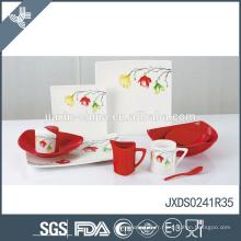 Alkali-resistant eco-friendly belle impression de fleurs personnalisée porcelaine colorée vaisselle