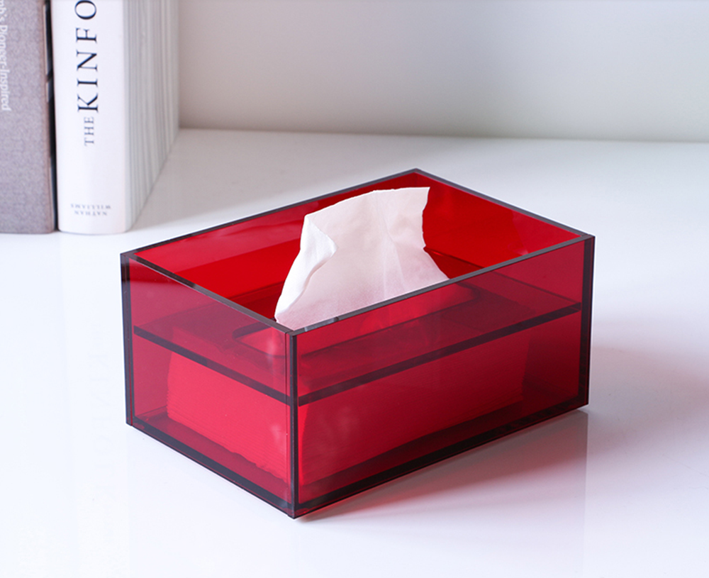 Acrylic Tissue Box Red