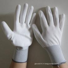 Gants en PU blanc Gant de travail électrique pour la sécurité des mains