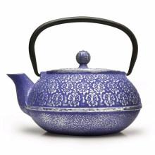 Blue Floral Cast Iron Teapot, 34-Ounce, Blue Floral