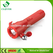 With safety hammer 1W LED+3 RED LED plastic torch emergency flashlight