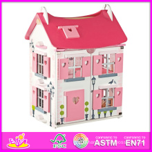 2014 Fashion New Kids Wooden Toy Doll House, Luxury Large Wooden Children Toy Doll House, Hot Sale Baby Wooden Toy Doll House Set Factory W06A051