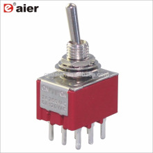 MTS-303-A2 3PDT Bloqueo Interruptor de palanca de 3 vías y 9 pines ENCENDIDO APAGADO ENCENDIDO