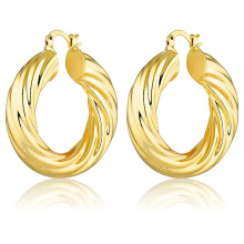 Custom Fashion Hypoallergenic18k Gold Plated Earrings Stainless Steel Jewelry Gold Twisted Hoop Earrings