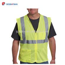 Chaleco de seguridad fluorescente amarillo de la economía del OEM de China Chaleco de trabajo de la carretera del poliéster de la visibilidad alta del OEM con los bolsillos del cierre del aro y del lazo