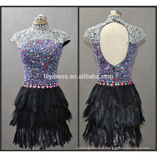 Cap Sleeve High Neck Back Hole Latest Designs Custom Made Cocktail Occasion Party CD066 feather dresses short