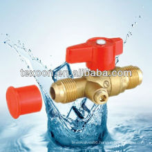 brass gas ball valves with drain with red handle flare*flare