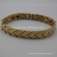 Aço inoxidável ouro chapeado seta pulseira link de cadeia