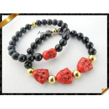 Red Howlite Sourire Bouddha Pendentifs en perles avec bijoux en agate (CB067)
