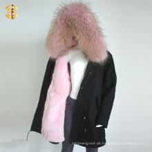Rosa Waschbär Rex Kaninchen Mädchen Winter Pelz Custom Jacke