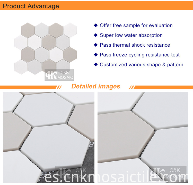 Mixed Color Hexagon Recycled Glass Mosaic Tile for Wall Decoration