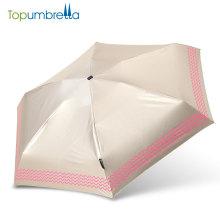 высокое качество пользовательские складной прозрачный 5 радуги складывает зонтик