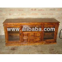 Holz Sideboard mit Glasplatte und Schublade