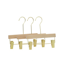 High quality amazing wooden pants hanger OEM trouser hanger with gold metal clips