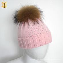 Warm Winter Rosa Pelz Gestrickte Mädchen Baby Beanie Hut Mit Pelz Ball Pom Pom