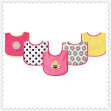 5 peças babadores Drooler com apoio impermeável, abelha-de-rosa