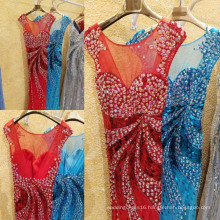 Luxury Sparkling Beaded Rhinestone Sexy Mermaid Long Evening Dress Cap Sleeve See Through Shining Sequin Party Gowns ML192