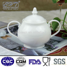 Daily used white porcelain sugar pot set with two hands