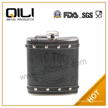 Leather stainless steel special pot hip flask