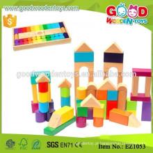 12 formas de madeira Kit de brinquedo de construção de jardim de infância 60pcs Kid Blocks