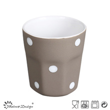 3oz Ceramic Cup Inside White Outside Grey with Dots Design