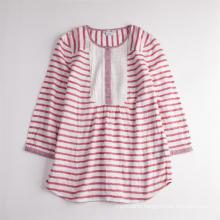 Girls' Cute Striped Long Sleeve Breathable Summer Shirt