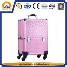 Алюминиевый чемодан на колесиках для макияжа с подносами