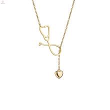 Collier de stéthoscope de Lariat de chandail d'acier inoxydable de déclaration d'or