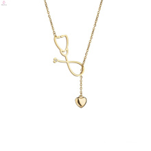 Gold Statement Stainless Steel Sweater Lariat Stethoscope Necklace