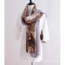 Lady Fashion Python Veins Printed Polyester Silk Scarf (YKY1142)