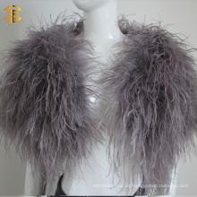 Mode Straußen Feder Pelz Pashmina Schal Real Feaher Pelz Kap Schal für Frauen