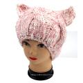 Hand Knit Evil Cat Ear Hat, Hand Knit Animal Hat