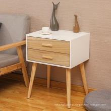 modern bedroom furniture solid wood pine bedside table with 2 drawers