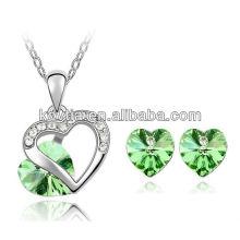 Шарм зеленый кристалл алмазов ювелирные изделия для новобрачных ювелирные изделия набор