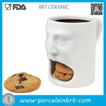 Tasse de biscuit en céramique de forme de visage blanc